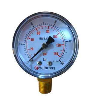 """Manometer VALBRASS - priemer 50 mm, spodný prípoj G1/4"""" presnosť 2,5 %, rozsah 0-10 bar"""