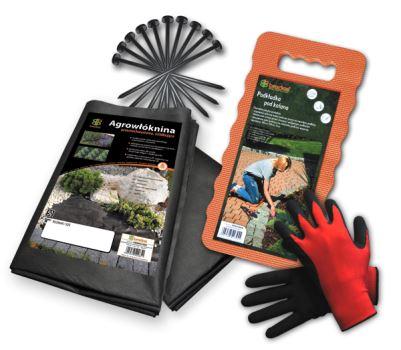 SET - netk.textília 1,6m x 5m, klince 10 ks, podložka na kľačanie, rukavice -BRADAS