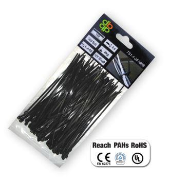Páska sťahovacia - káblová - 3,6 x 200 mm, čierna, 100 ks- BRADAS