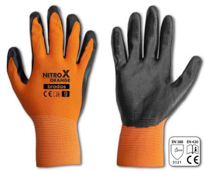 Rukavice pracovné - NITROX ORANGE - veľkosť 10- BRADAS