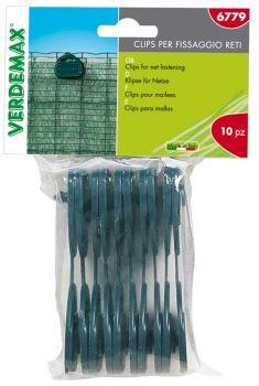 Klipsy fixačné - VERDEMAX - pre tieniacu textíliu / tieňovku - zelené - balenie 10 ks