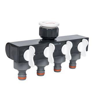 Adaptér na kohútik - WHITE LINE - 4 vývody s uzatváracími ventilmi- kartón
