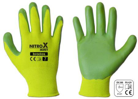 Rukavice pracovné - NITROX MINT - veľkosť 7- BRADAS