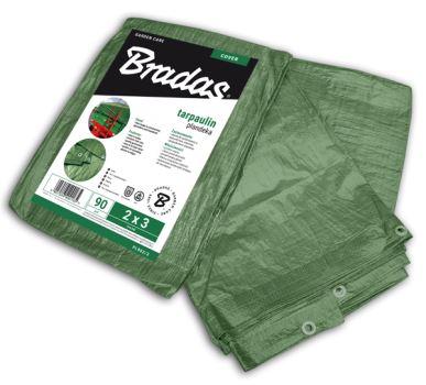 Plachta zakrývacia - GREEN - spevnená -  90g/m2 - zelená - 4 x 6 m- BRADAS