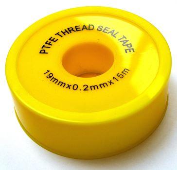 Teflonová tesniaca páska - 19 mm x 0,2 mm x 15 m (žltá - veľká)